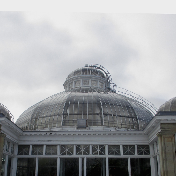 photo taken outside, looking at the central conservatory dome