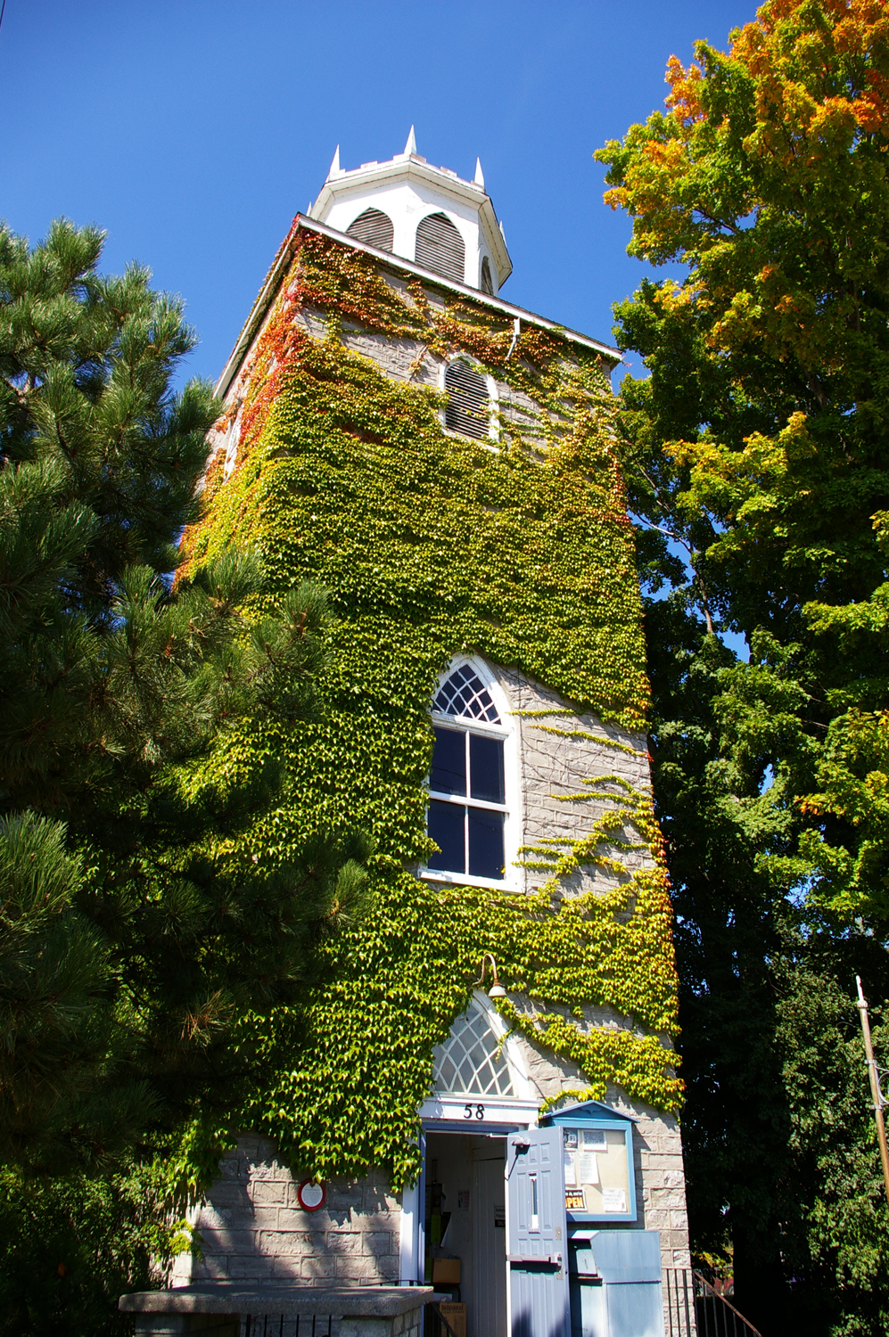 Holy Trinity Anglican Church, built in1847 in Consecon, Prince Edward County.  In 1978 it started its second life as a branch of the Public Library.